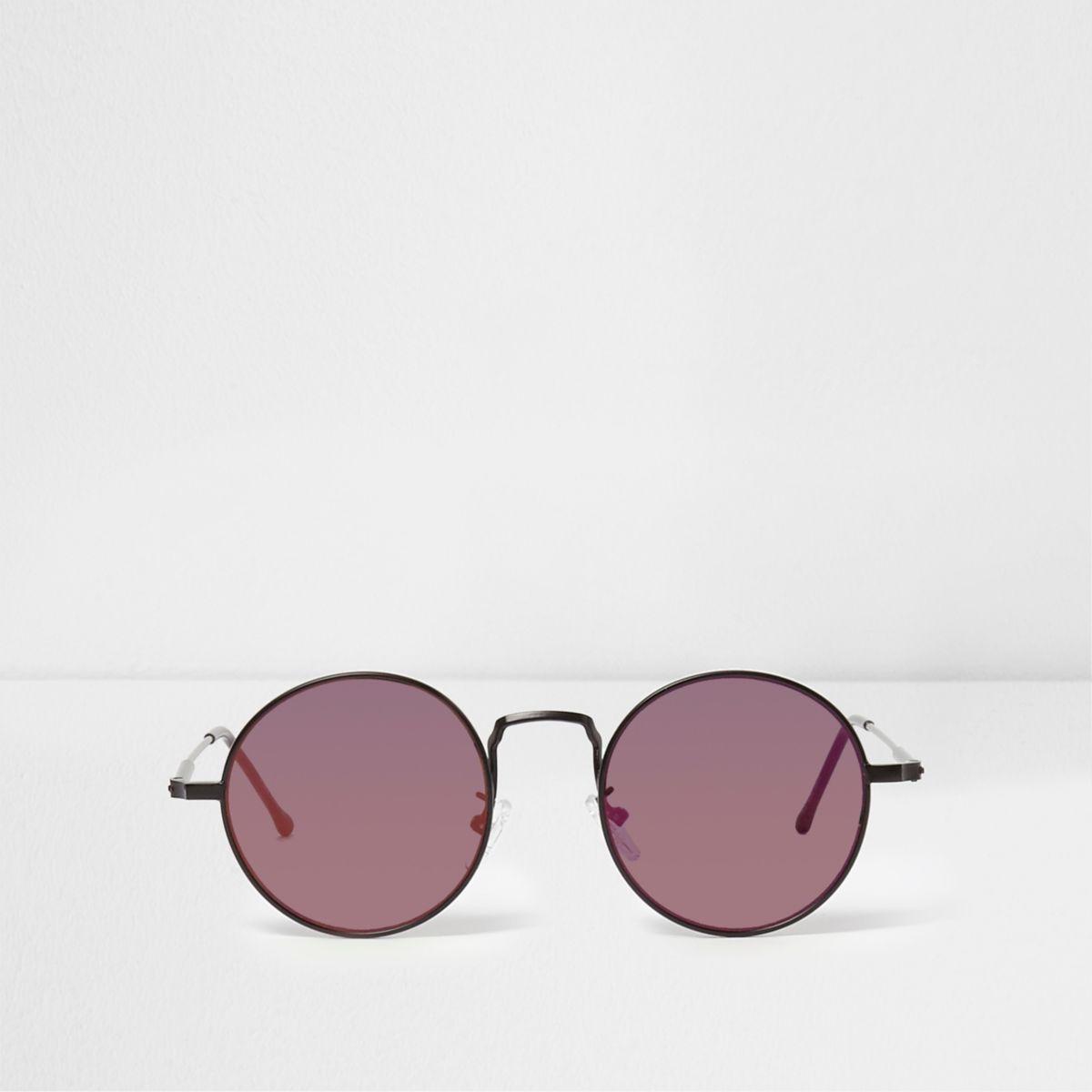 Schwarze, runde Retro-Sonnenbrille