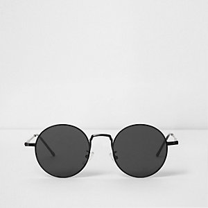 Black round flat lenses retro sunglasses
