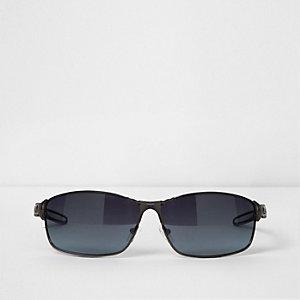 Grey gunmetal wraparound sunglasses