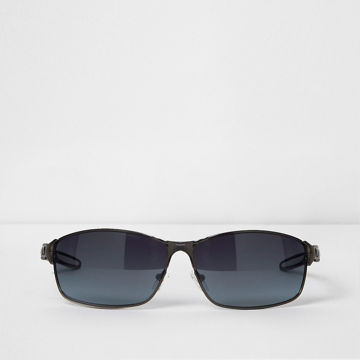 Grey gunmetal wraparound sunglasses