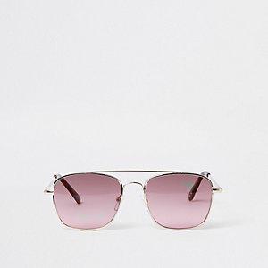 Goudkleurige ronde zonnebril met roze glazen