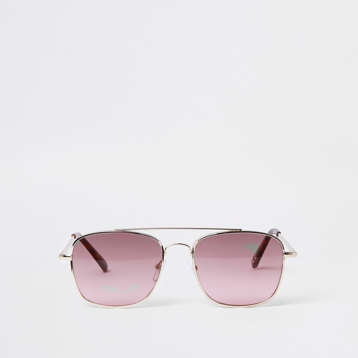 Gold tone pink lens round sunglasses