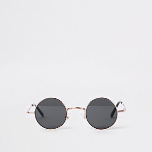 Gold tone round smoke lens sunglasses