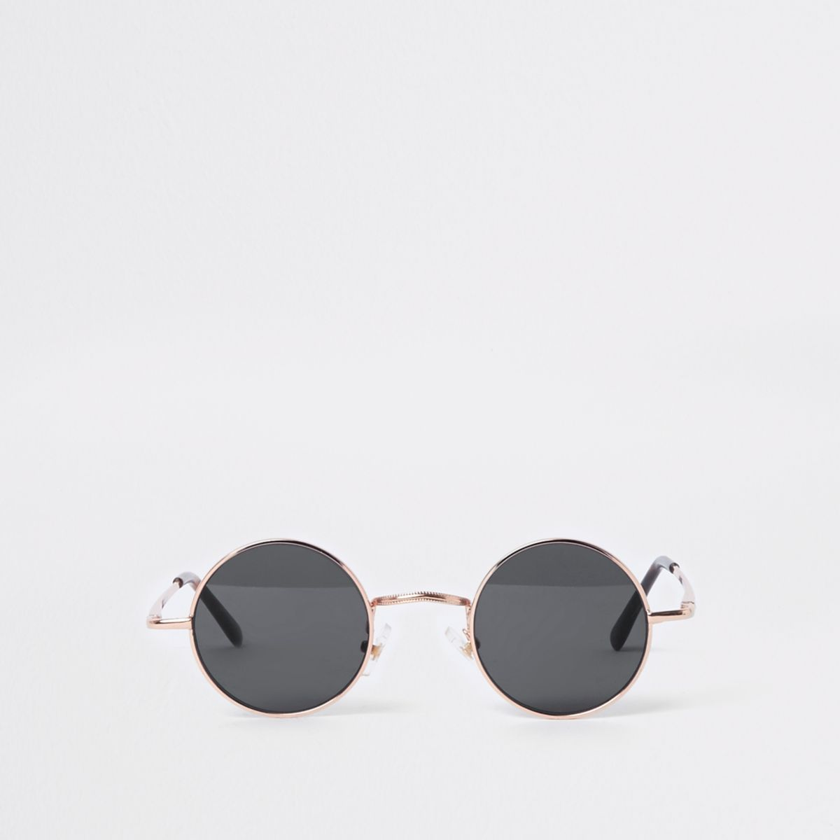 Gold tone round smoke lens sunglasses