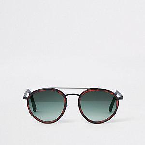 Braune Pilotensonnenbrille mit Schildpatt