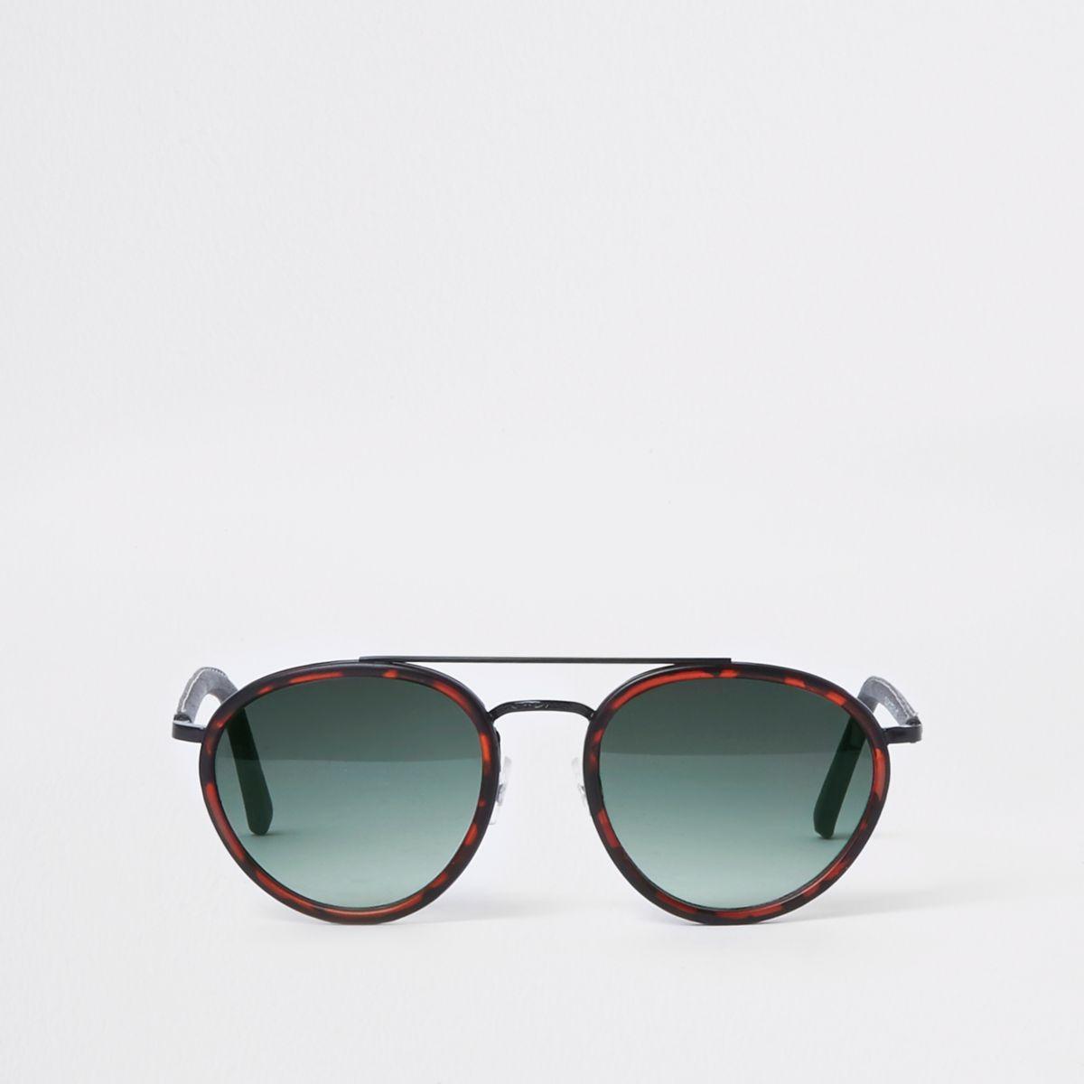Brown tortoiseshell aviator sunglasses