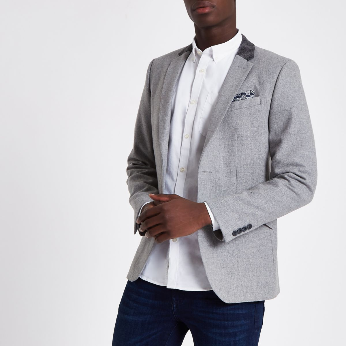 Light grey contrast skinny fit blazer