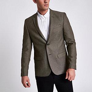 Brown nep skinny blazer