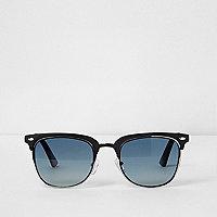 Black half frame blue lens retro sunglasses