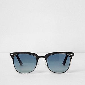 Zwarte retro zonnebril met blauwe glazen en half montuur