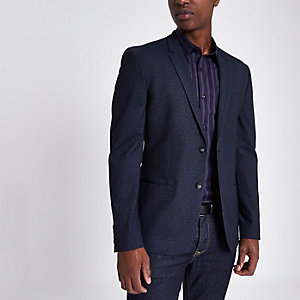 Marineblauwe jersey skinny-fit blazer