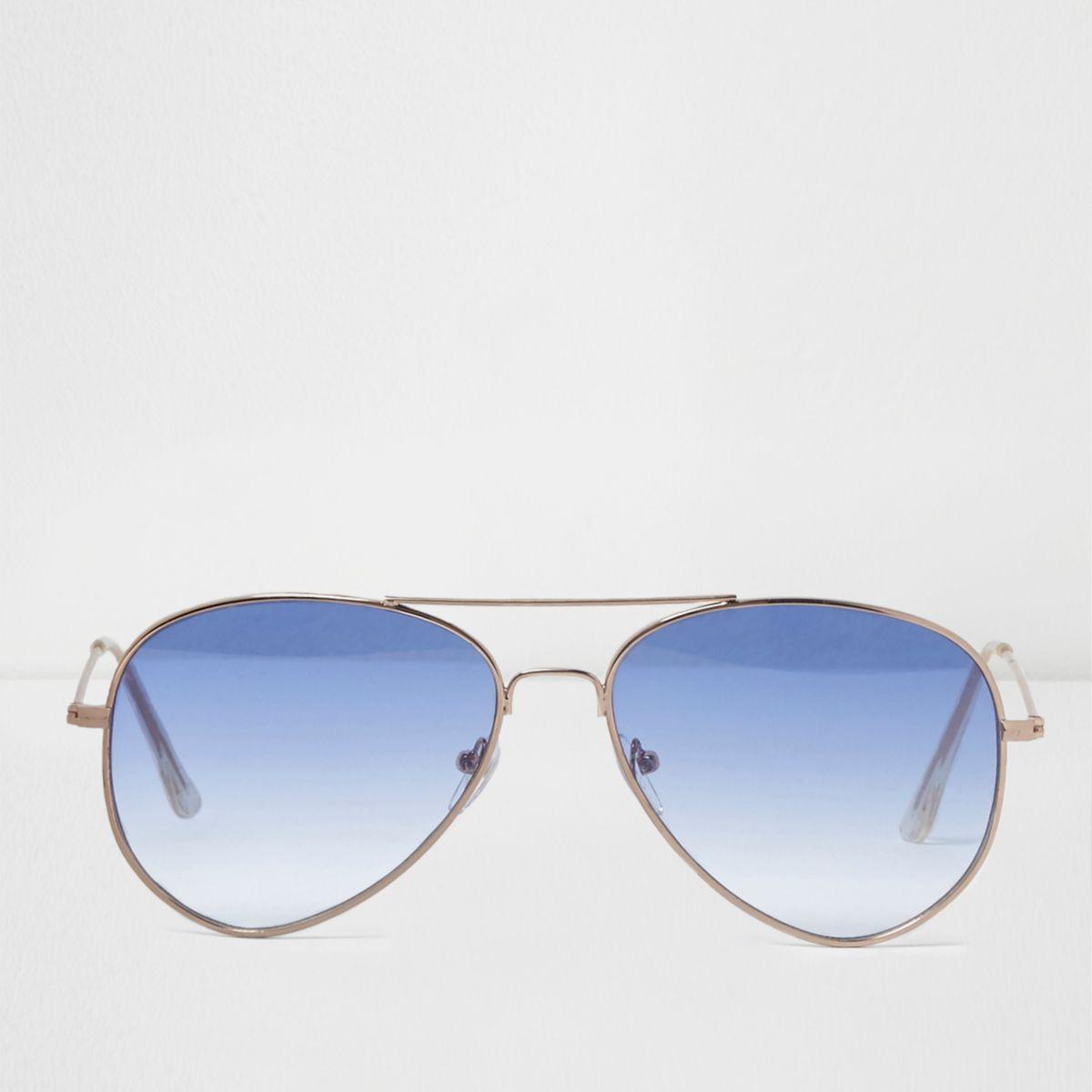 Lunettes de soleil aviateur à verres teintés bleus