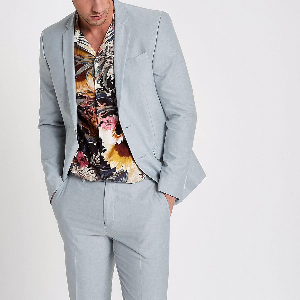 Light blue skinny fit Oxford blazer