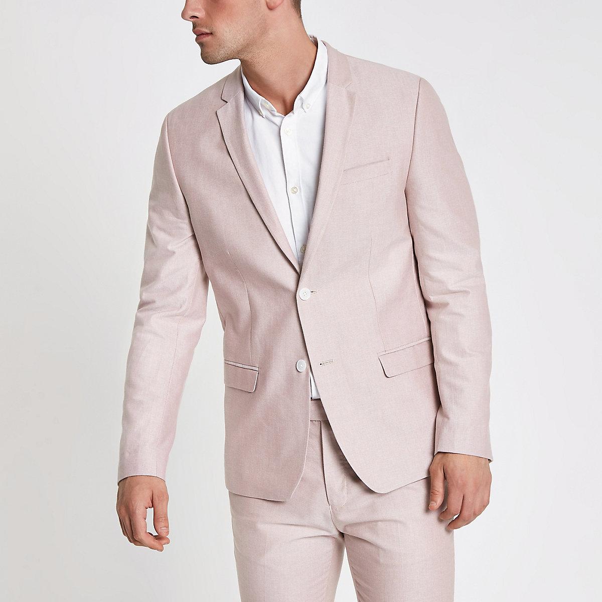 Pink skinny fit Oxford blazer