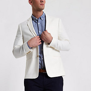 Cream skinny fit blazer