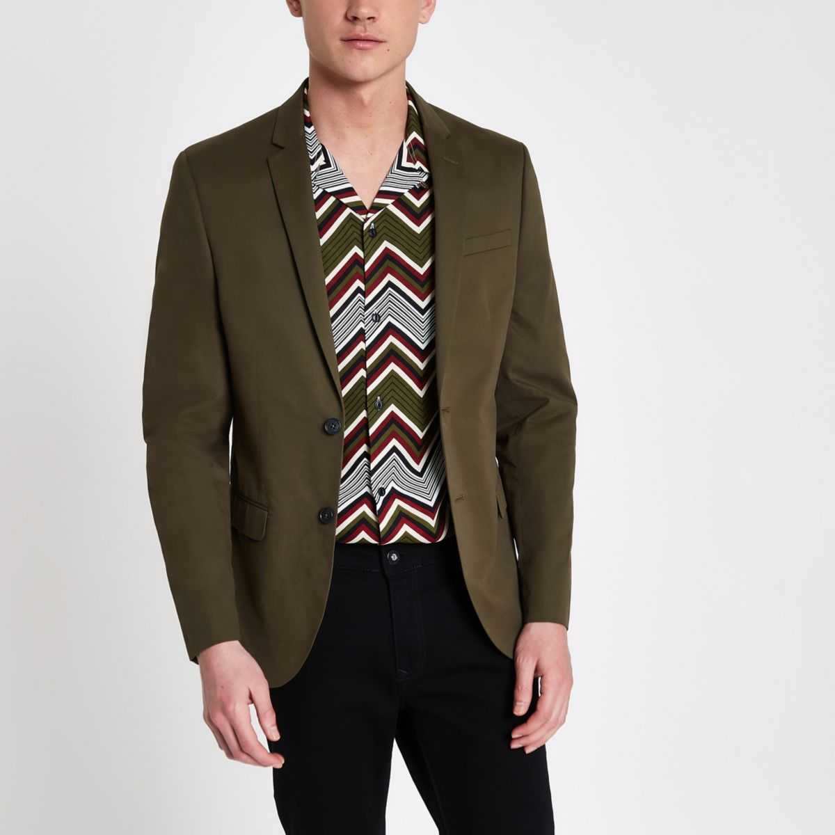 Khaki green skinny fit blazer