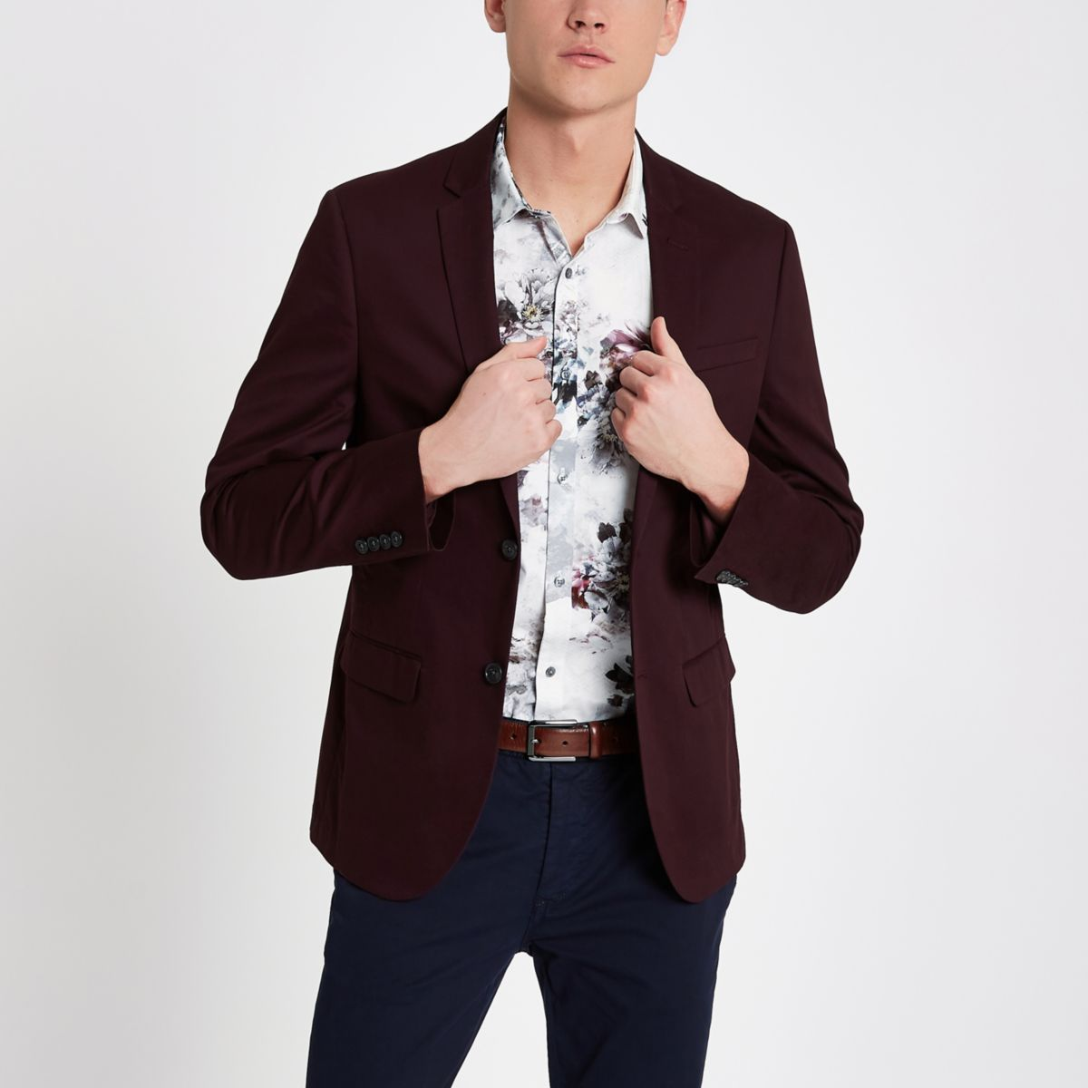Dark red skinny fit cotton blazer