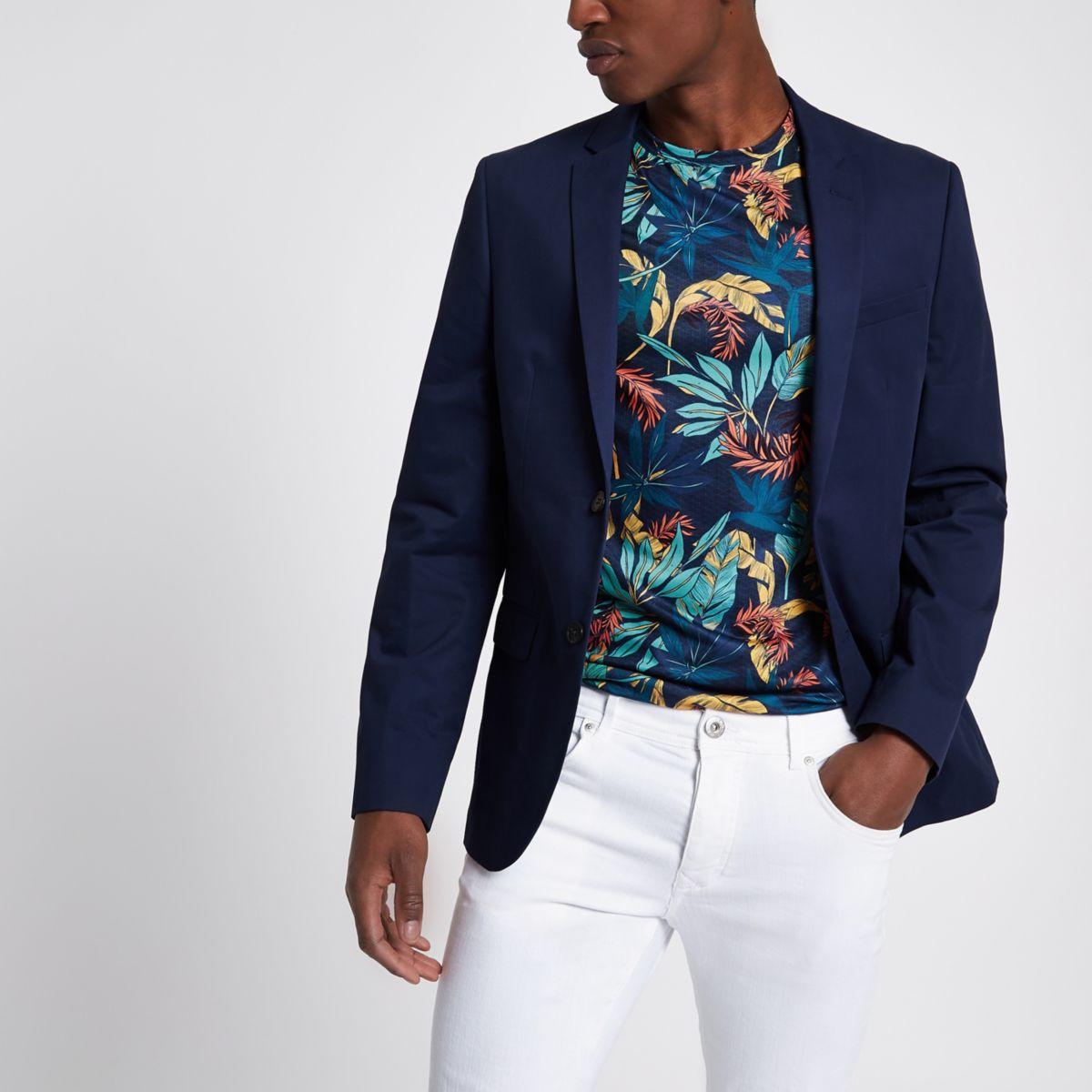 Navy skinny fit blazer