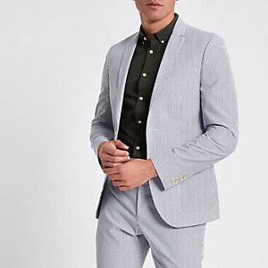 Blauwe gestreepte skinny-fit blazer
