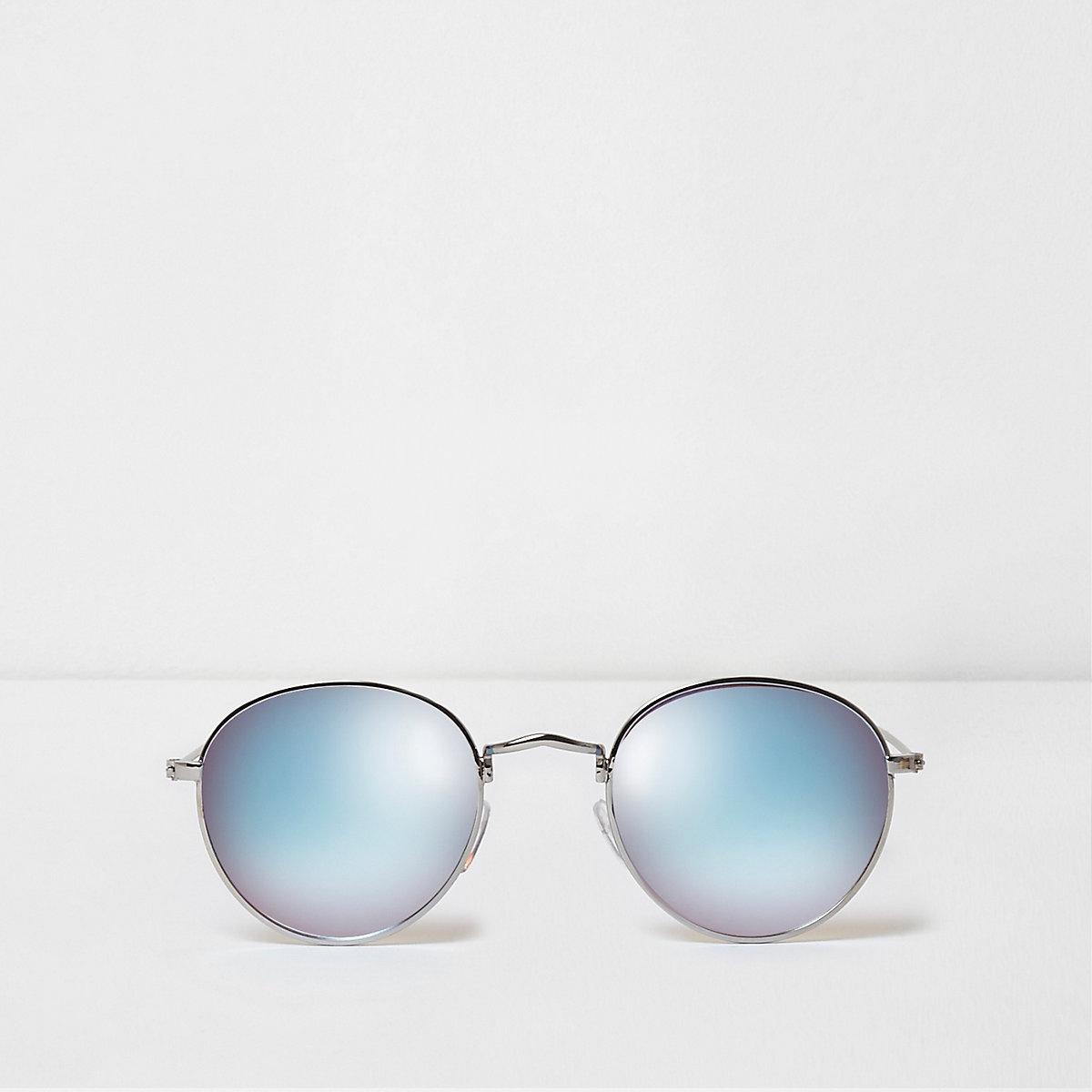 Silver tone blue mirror lenses sunglasses
