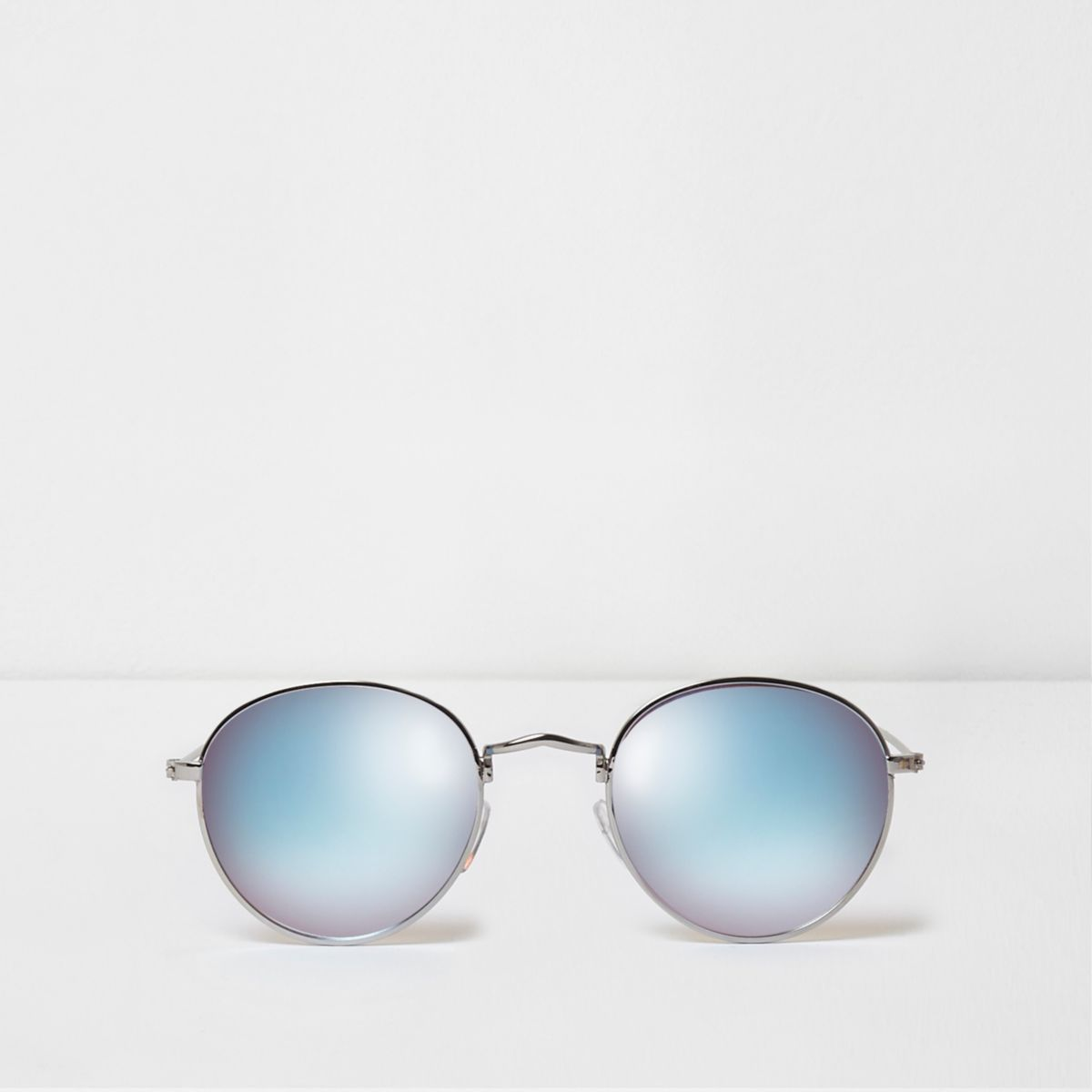 Silver tone blue mirror lenses sunglasses
