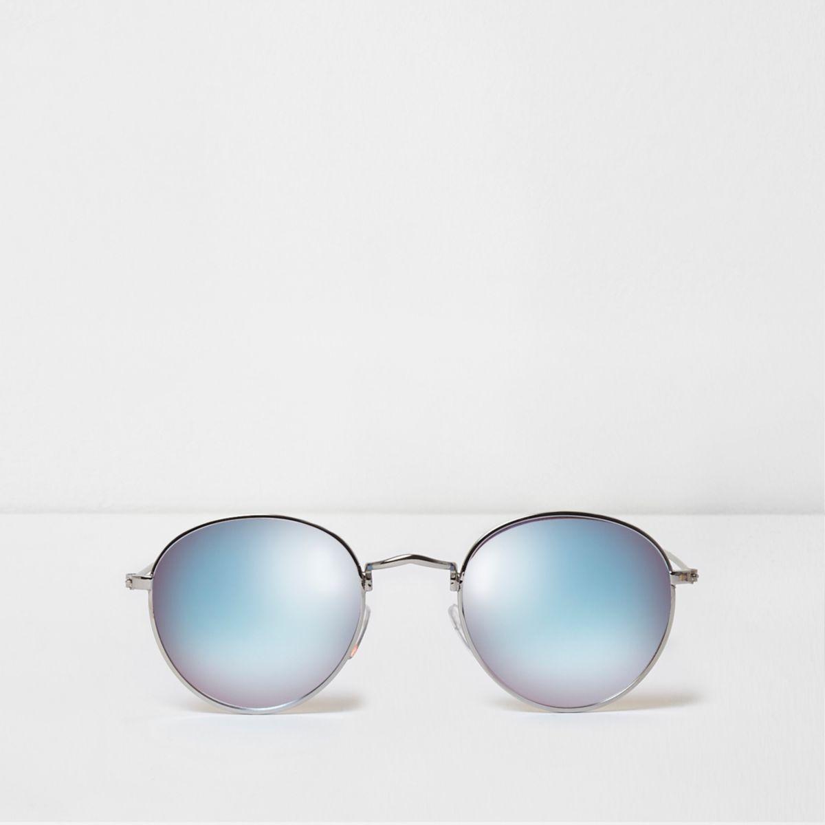 Lunettes de soleil argentées à verres bleus effet miroir