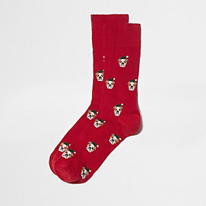 Red bulldog Christmas socks
