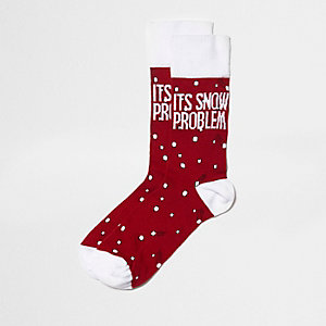 "Rote Weihnachts-Sneakersocken ""it's snow problem"""
