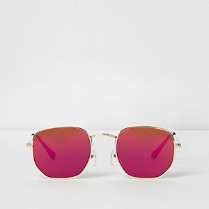 Gold tone hexagon red lens sunglasses