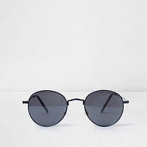Blue round retro smoke lens sunglasses