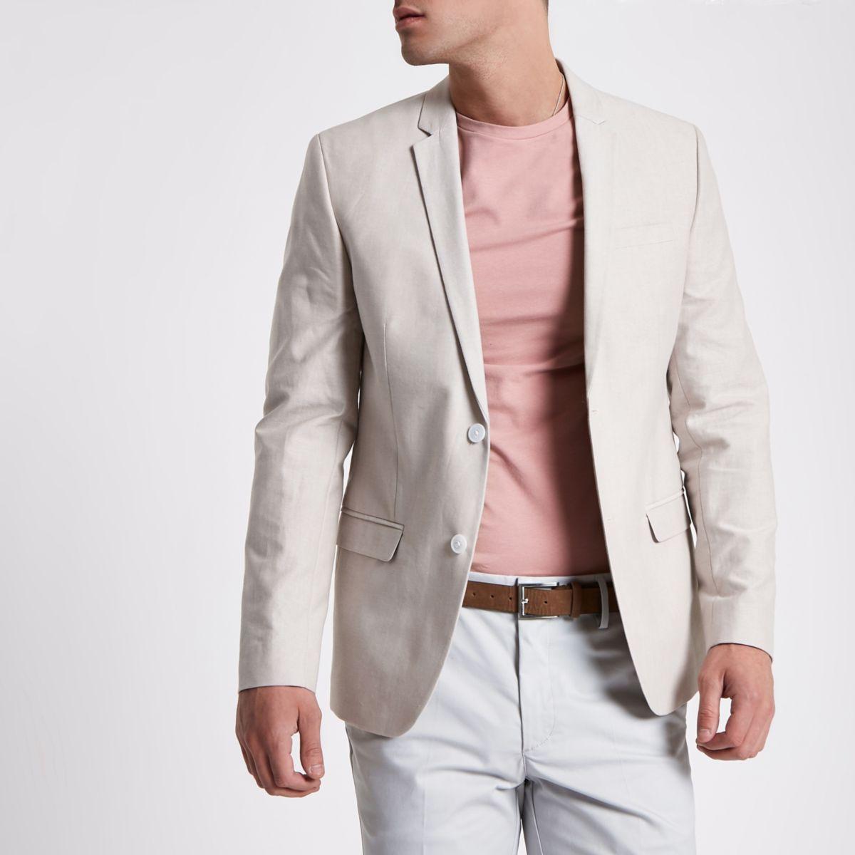 Stone skinny fit Oxford blazer
