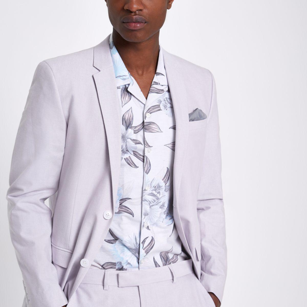Purple skinny fit Oxford blazer