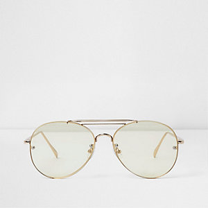 Yellow clear lenses aviator glasses