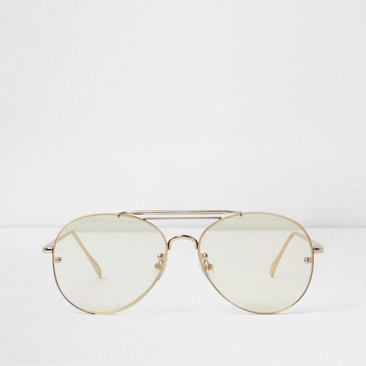 Yellow clear lenses aviator glasses