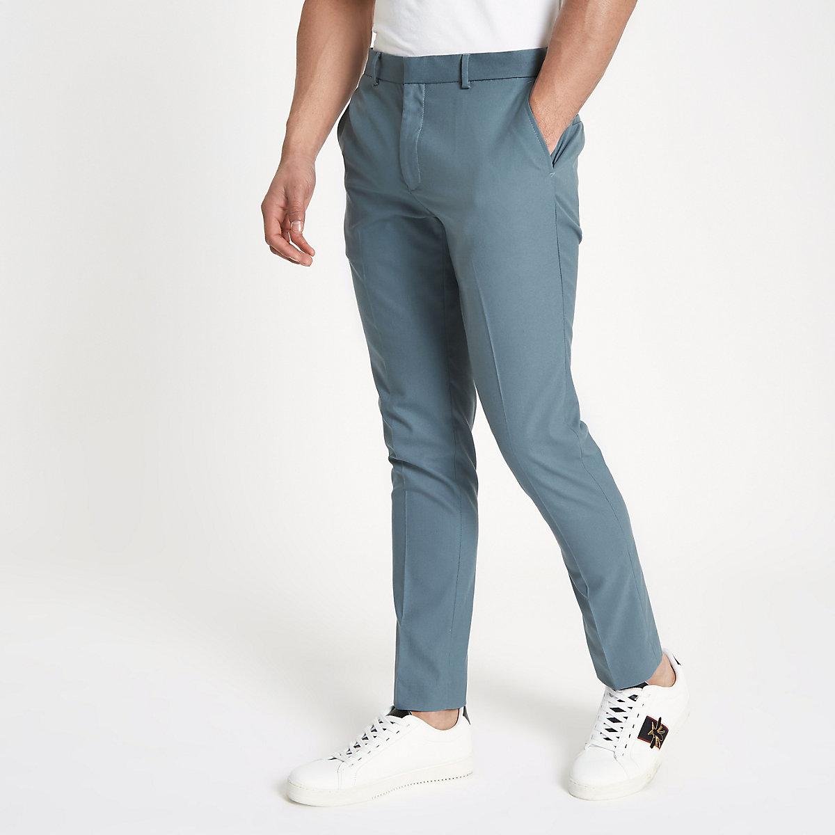 Pantalon habillé skinny bleu