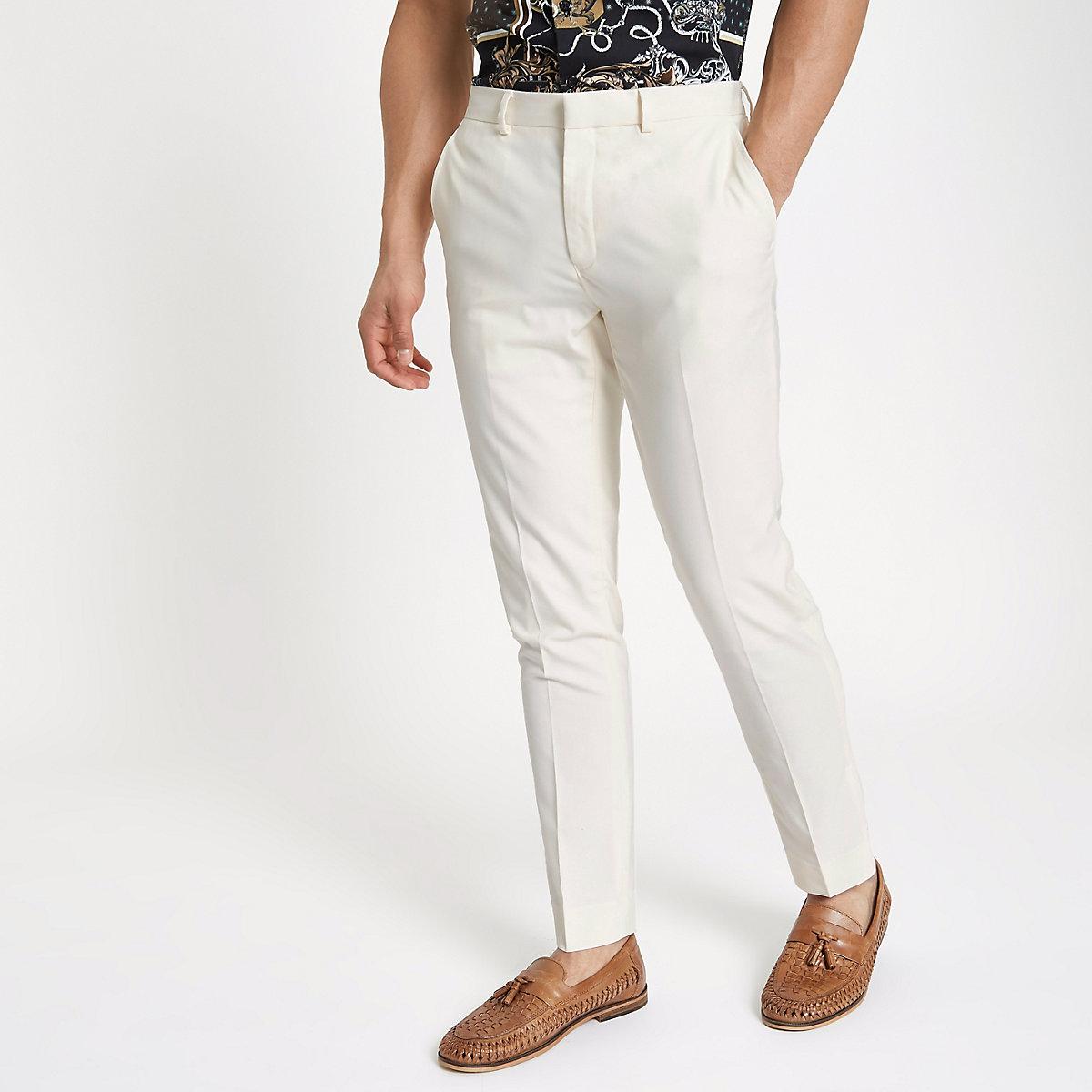 Cream stretch skinny fit smart trousers