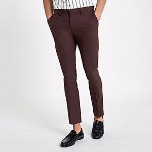 Pantalon habillé super skinny bordeaux