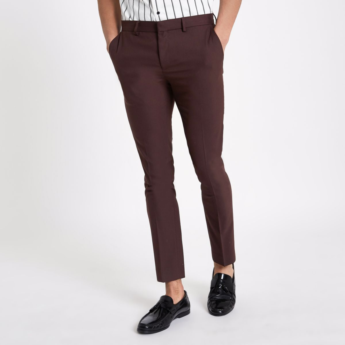 Burgundy super skinny smart trousers