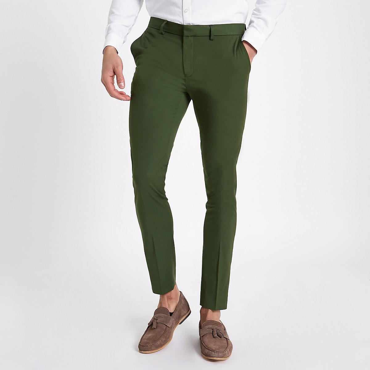 Dark green super skinny smart trousers