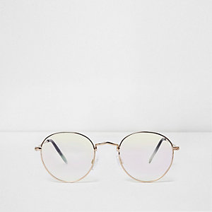 Gold tone clear lenses aviator sunglasses
