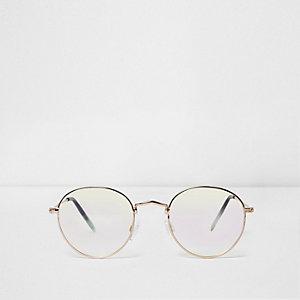 Goudkleurige pilotenzonnebril met doorzichtige glazen