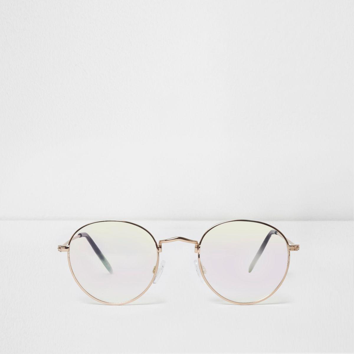 Gold tone clear lenses aviator sunglasses