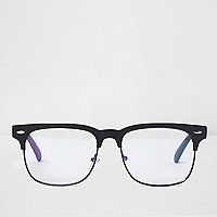 Black clear lenses retro style glasses