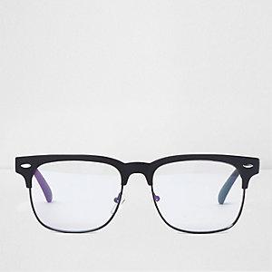 Zwarte retrobril met doorzichtige glazen