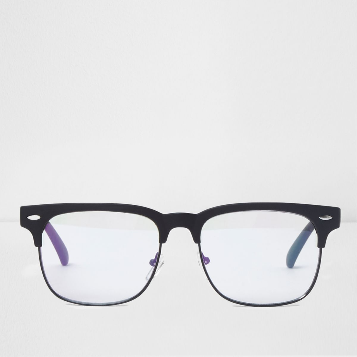 Black clear lenses retro style glasses