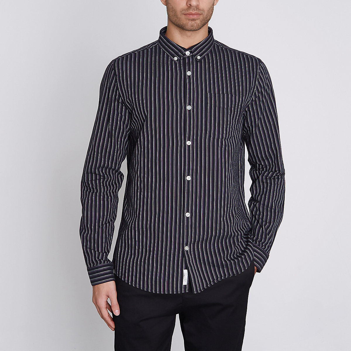 Purple stripe slim fit Oxford shirt