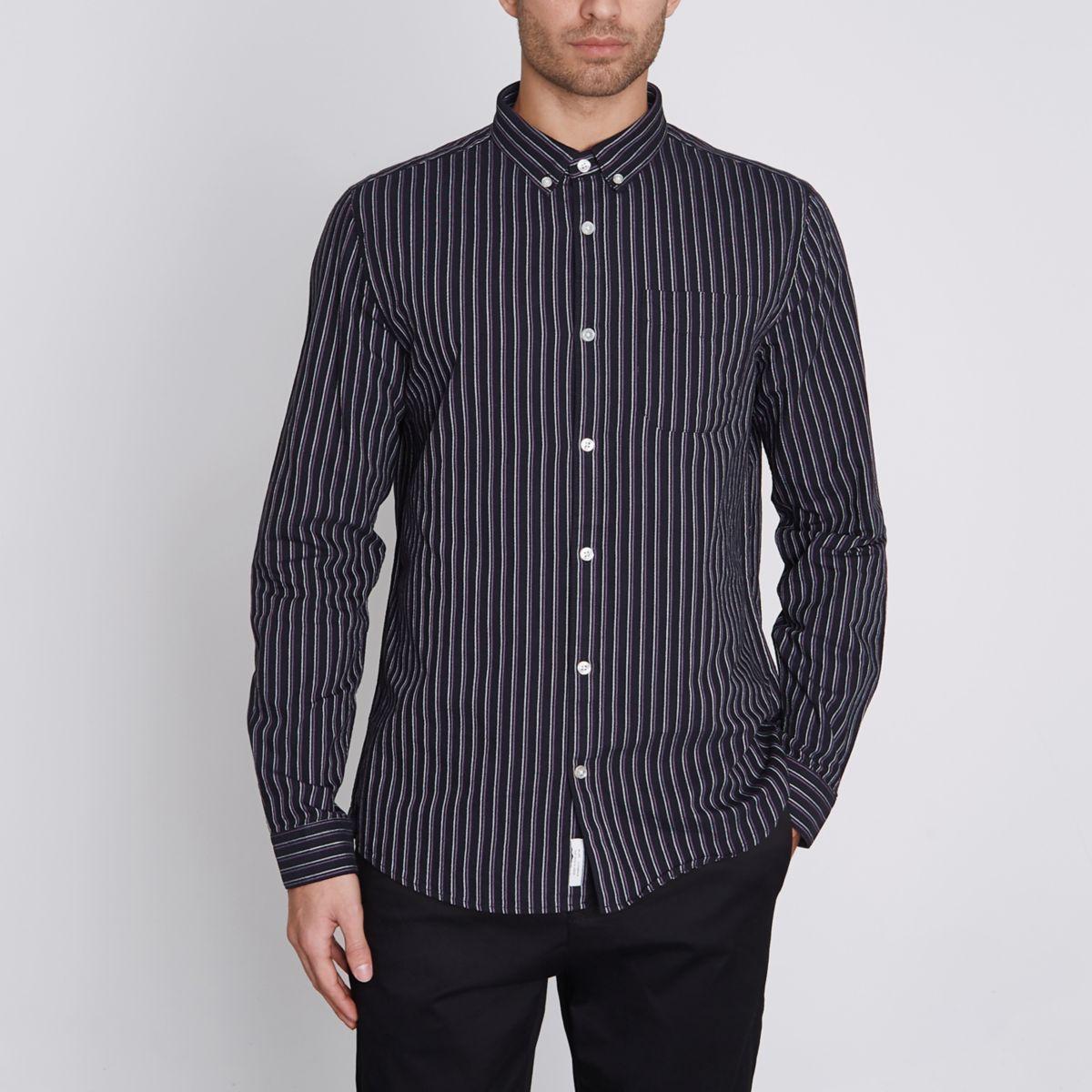 Purple stripe slim fit Oxford shirt