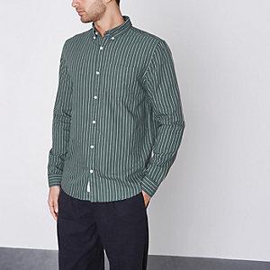Grünes Slim Fit Oxford-Hemd mit Streifen