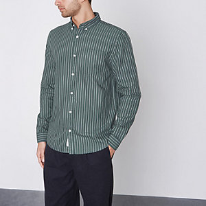 Groen gestreept slim-fit oxford overhemd
