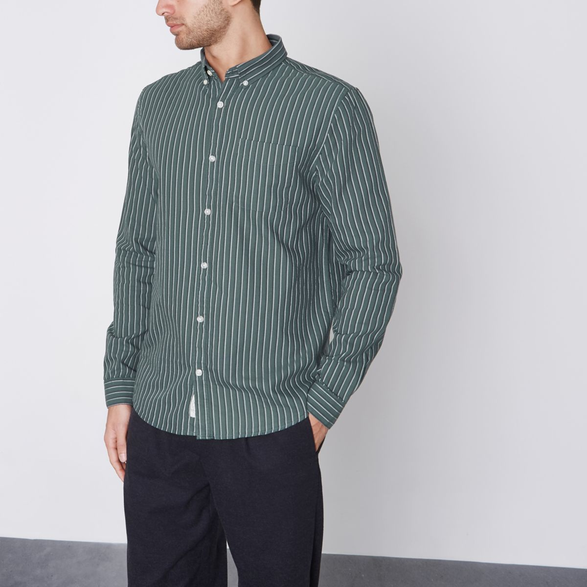 Green stripe slim fit Oxford shirt